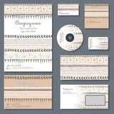 Set of templates for business. Set of templates for cd disks, envelopes, notebooks, credit card, business card and invitation card with floral ornament Stock Photo