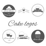 Set of templates with cakes for logos Stock Photography