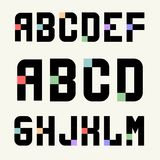 Set 1 Templates capital letters of blocks with color inserts. Set 1 Templates capital letters of black blocks with color inserts. Pixel Alphabet. For emblems stock illustration
