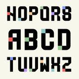 Set 2 Templates capital letters of blocks with color inserts. Set 2 Templates capital letters of black blocks with color inserts. Pixel Alphabet. For emblems stock illustration