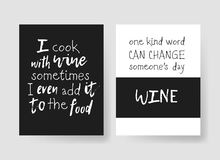 Set of templates for cards with positive text about wine. Hand drawn vector patterns brochures and lettering quote. Actual artistic design flyers Royalty Free Illustration