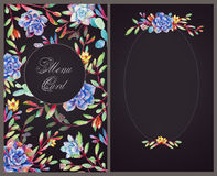 Set of templates for celebration. Watercolor illustrations of su Royalty Free Stock Images