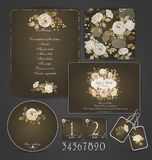 Set of templates for celebration, wedding. Beige roses. Stock Photos