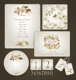 Set of templates for celebration, wedding. Beige roses. Royalty Free Stock Image