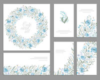 Set of templates for celebration, wedding. Blue flowers. Watercolor blue poppies, lily the valley, daisy, snowdrop. Royalty Free Stock Photo