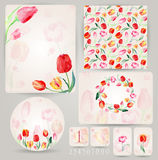 Set of templates for celebration, wedding. Watercolor tulips. Royalty Free Stock Images