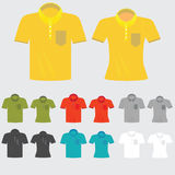 Set of templates colored polo shirts for man and women. Stock Photo