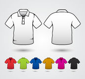 Set of templates colored polo shitrs Stock Photography
