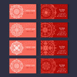 Set of templates for corporate style in vector. Set of templates for business cards with floral ornaments in red colors. Corporate style vector Stock Photography