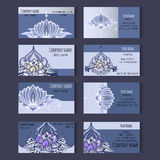 Set of templates for corporate style in vector. Set of templates for business cards or invitation card with lotuses, floral ornaments, lily. Corporate style Stock Photography