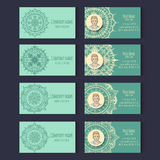 Set of templates for corporate style in vector. Set of templates for business cards with place for photo on the floral ornament. Corporate style. Vector Royalty Free Stock Images