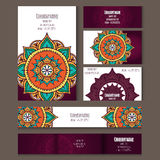 Set of templates for corporate style in vector. Set of templates for business cards, postcards or invitation cards with floral ornament. Corporate style vector Stock Photo