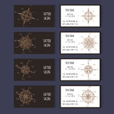 Set of templates for corporate style in vector. Set of business cards templates for tattoo salon or invitation cards with floral compass. Vector corporate style Stock Images