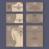 Set of templates for corporate style in vector. Set of business cards templates for tattoo salon or invitation cards with floral ornaments. Vector corporate Stock Photo