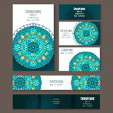Set of templates for corporate style in vector. Set of templates for business style, envelopes, notebooks, invitation card or else with floral ornament Royalty Free Stock Image