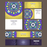 Set of templates for corporate style in vector. Set of templates for business style, envelopes, notebooks, invitation card or else with floral ornament Royalty Free Stock Photography