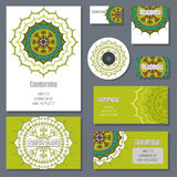 Set of templates for corporate style in vector. Set of templates for cd discs, envelopes, notebooks, credit card, business card and invitation card with floral Stock Images
