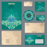 Set of templates for corporate style in vector. Set of templates for cd discs, envelopes, notebooks, credit card, business card and invitation card with floral Stock Photo