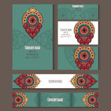 Set of templates for corporate style in vector. Set of templates for corporate style, envelopes, notebooks, business card and invitation card with floral Royalty Free Stock Photo