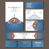 Set of templates for corporate style in vector. Set of templates for corporate style, envelopes, notebooks, business cards or invitation cards with lotus Royalty Free Stock Image