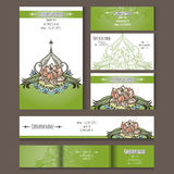 Set of templates for corporate style with vector lotus. Set of templates for corporate style. Envelopes, notebooks, business card or invitation cards with lotus Stock Photos