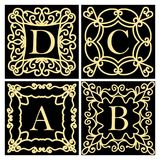 A set of templates for creating a logo, a framework for invitations. Emblem or monogram. A collection of design elements for the l. Etters A B C D. Golden icons Royalty Free Stock Image