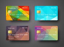 Set of templates of a credit debit bank card with a colored po Royalty Free Stock Photography