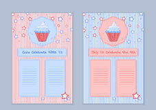 Set of templates with cute hand drawn cupcake illustrations  Royalty Free Stock Image