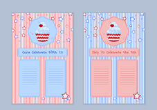 Set of templates with cute hand drawn cupcake illustrations Stock Image