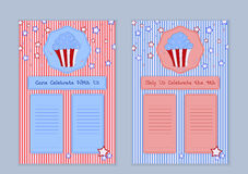 Set of templates with cute hand drawn cupcake illustrations Royalty Free Stock Photos