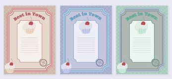 Set of templates with cute hand drawn cupcake Royalty Free Stock Photo