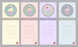Set of templates with cute hand drawn cupcake Stock Photo