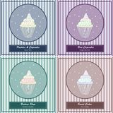 Set of templates with cute hand drawn cupcake Stock Photography