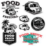 Set of templates, design elements, vintage style emblems for food truck Stock Photography