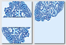 Set of templates for design invitations or flyers in blue tones  Royalty Free Stock Photography