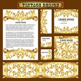 Set of templates for design with vintage gold ornament Royalty Free Stock Photography
