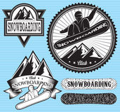 Set of templates for extreme snowboarding Royalty Free Stock Photo