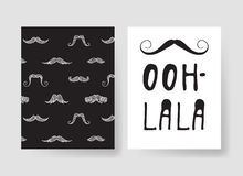 Set of templates for fashion cards. Hand drawn vector patterns hipster brochures with mustache. Set of templates for fashion cards. Hand drawn vector patterns Stock Illustration