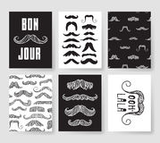 Set of templates for fashion cards. Hand drawn vector patterns hipster brochures with mustache. Set of templates for fashion cards. Hand drawn vector patterns Royalty Free Illustration