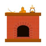 Set of templates with fireplaces. For your design Stock Photos