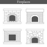 Set of templates with fireplaces Stock Photos