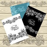 Set templates of  frames with doodle floral elements Royalty Free Stock Photography