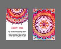 Set templates of gift cards with color ornament mandala for print or website.. Vector illustration. Gift card design. Vector national design. Card template for Stock Image