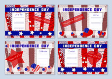 Set of templates for Independence Day on planked wood background Stock Image