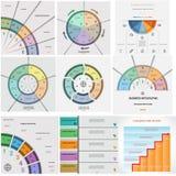 Set 9 templates Infographics cyclic processes five positions Stock Photo