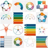 Set 16 templates Infographics cyclic processes, five positions Stock Photo