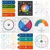 Set 9 templates Infographics cyclic processes on four positions Royalty Free Stock Photography