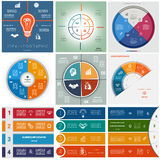 Set 9 templates Infographics cyclic processes, four positions Royalty Free Stock Images