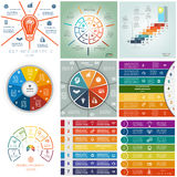 Set 9 templates, Infographics cyclic processes, seven positions Stock Photography