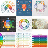 Set 9 templates Infographics cyclic processes for six positions Stock Photos